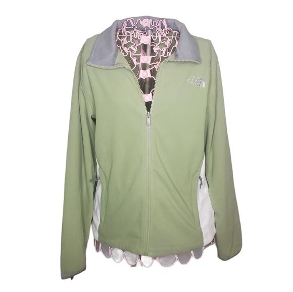 The North Face Light Green Fleece Full Zip Jacket Women's Large Sage Green